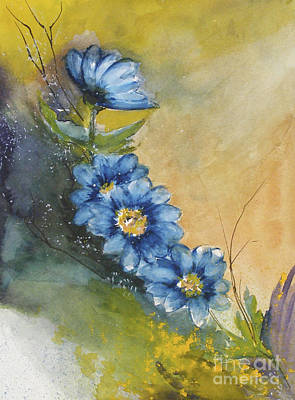 Blue Flowers Art Print by Sibby S