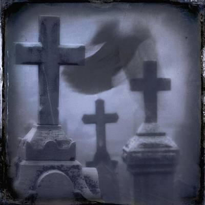 Graveyard Digital Art - Ghostly Blue Fog by Gothicrow Images
