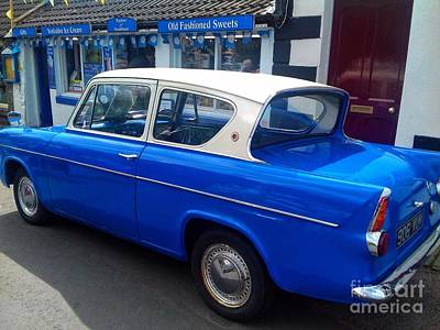 Photograph - Blue Ford Anglia 2 by Joan-Violet Stretch