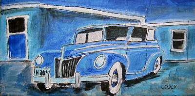Litvack Painting - Blue Ford Convertible by Michael Litvack