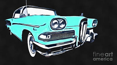 Photograph - Blue Ford Edsel Painting by Edward Fielding