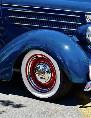 Photograph - Blue Ford Fender With Red Wheel by Dean Ferreira