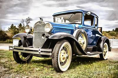 Photograph - Blue Ford Model A Car by Edward Fielding