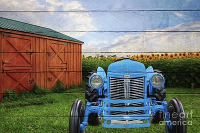 Digital Art - Blue Ford Tractor by Lori Deiter
