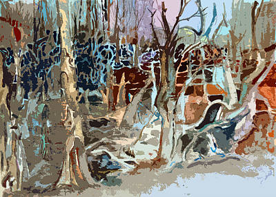 Library Digital Art - Blue Forest by Mindy Newman