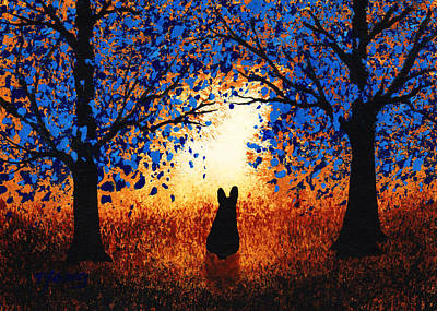 French Bull Dog Wall Art - Painting - Blue Forest by Todd Young