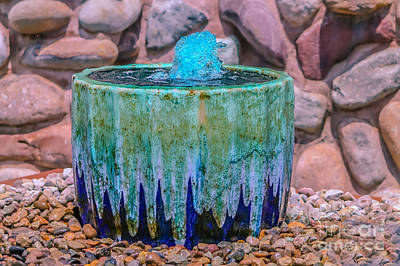 Pottery Water Fountain Photograph - Blue Fountain by Claudia M Photography