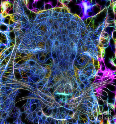 Jeffery Johnson Photograph - Blue Fractalius Clouded Leopard by Photo Captures by Jeffery