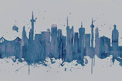 Mixed Media - Blue Frankfurt Skyline by Dan Sproul