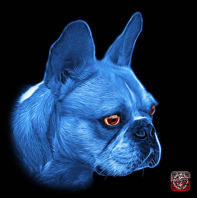 Painting - Blue French Bulldog Pop Art - 0755 Bb by James Ahn