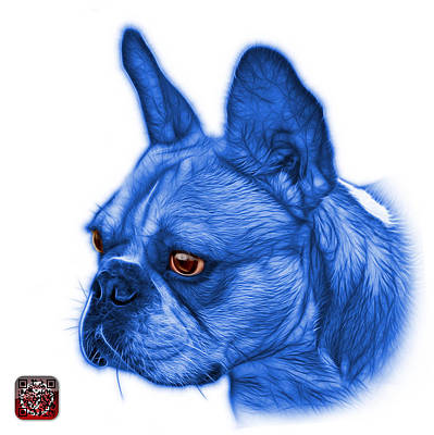 Painting - Blue French Bulldog Pop Art - 0755 Wb by James Ahn