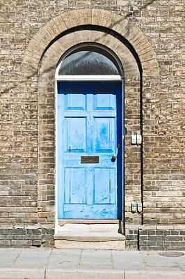 Medieval Entrance Photograph - Blue Front Door by Tom Gowanlock