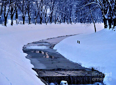 Photograph - Blue Frozen River by Nina Ficur Feenan
