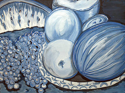 Snack Time Painting - Blue Fruit by Lisa Stanley