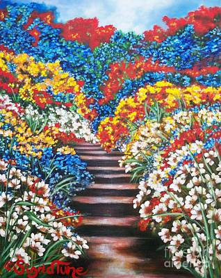 Painting - Chloe The   Flying Lamb Productions        Blue Garden Cascade by Sigrid Tune