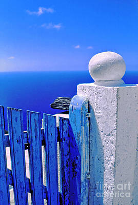 Greek Photograph - Blue Gate by Silvia Ganora