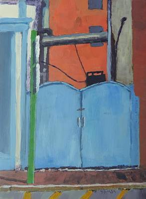 Painting - Blue Gated Alley - Art By Bill Tomsa by Bill Tomsa