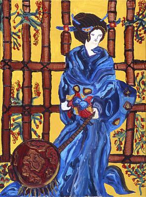 Prostitution Painting - Blue Geisha by Lorin Zerah