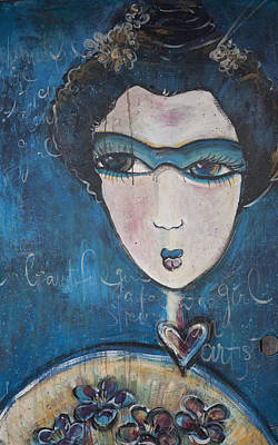 Painting - Blue Geisha Love Detail by Laurie Maves ART