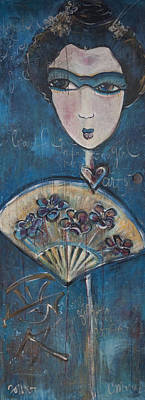 Painting - Blue Geisha Love by Laurie Maves ART