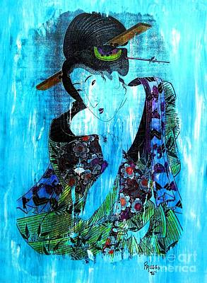 Painting - Blue Geisha by Roberto Prusso