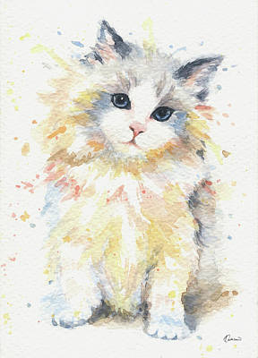 Watercolor Pet Portraits Painting - Blue-gem Ragdoll Cat by Kathleen Wong