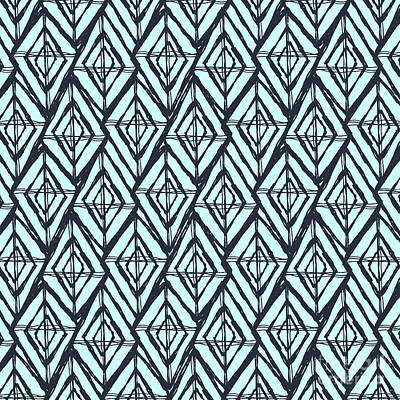 Damask Drawing - Blue Geometric Diamond Pattern by Stephanie Troutner