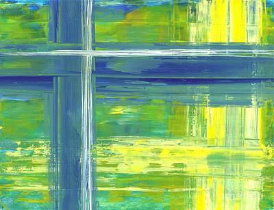 Blue Geometric Yellow Art Print
