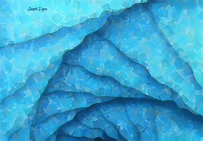 Fractal Geometry Painting - Blue Geometry - Pa by Leonardo Digenio