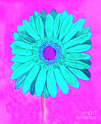 Painting - Blue Gerbera On Pink, Watercolor by Irina Afonskaya