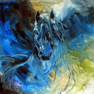Blue Ghost  Equine Art Original Oil Art Print