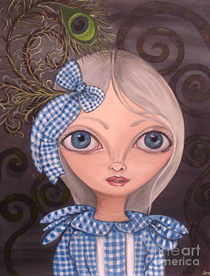 Pop Surrealism Painting - Blue Gingham And Peacock Feathers by Jaz Higgins
