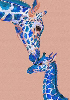 Digital Art - Blue Giraffes 2 by Jane Schnetlage