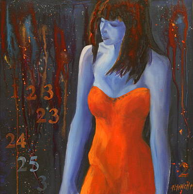 Strapless Dress Painting - Blue Girl In Red Dress by Lynn Chatman