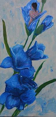 Overcoming Obstacles Painting - Blue Gladiolus Muse by Gladiola Sotomayor