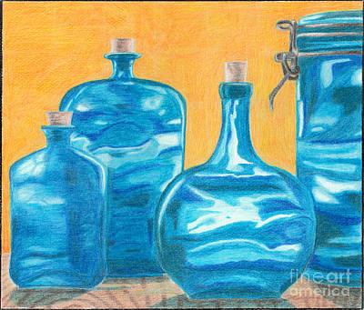 Blue Glass Bottles  Original by Alice