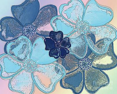 Blue Glass Flowers Art Print