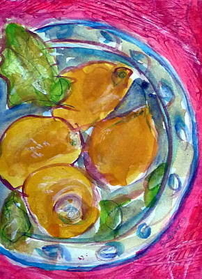 Table Cloth Mixed Media - Blue Glass Plate by Beth Sebring
