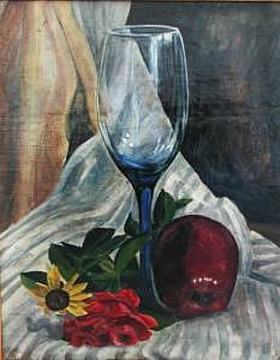 Painting - Blue Glass Waiting For The Other by Judy Loper