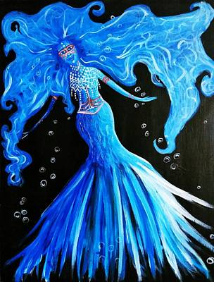 Blue Painting - Blue Goddess by Artist Jamari