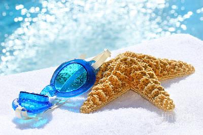 Towel Digital Art - Blue Goggles On A White Towel  by Sandra Cunningham