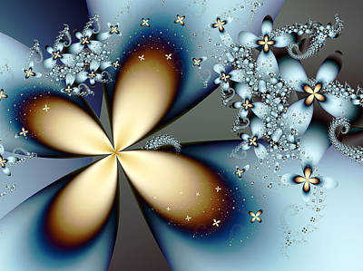 Nature Abstract Digital Art - Blue Gold 4 by Vicky Brago-Mitchell