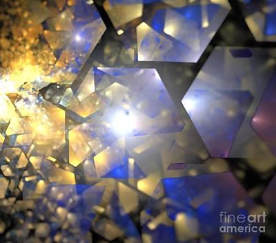 Digital Art - Blue Gold Crystals by Kim Sy Ok
