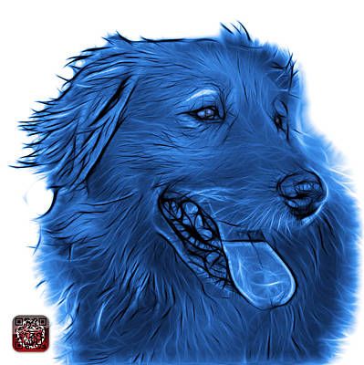 Retrievers Digital Art - Blue Golden Retriever - 4057 Wb by James Ahn