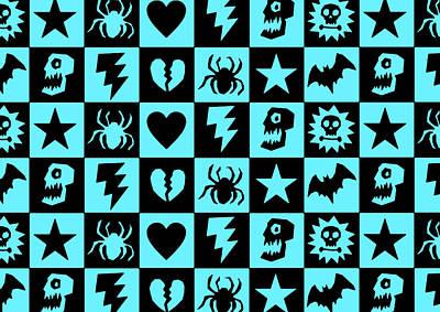 Digital Art - Blue Goth Punk Checkers by Roseanne Jones
