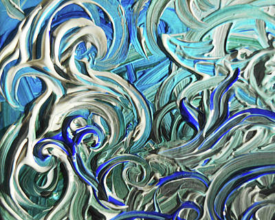 Painting - Blue Gray Acrylic Brush Strokes Abstract For Interior Decor IIi by Irina Sztukowski