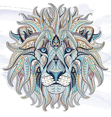 Painting - Blue Gray Ethnic Lion by Aloke Creative Store