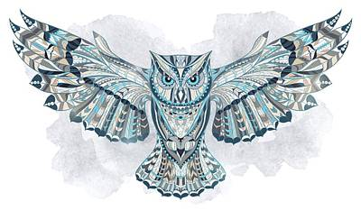 Painting - Blue Gray Ethnic Owl by Aloke Creative Store