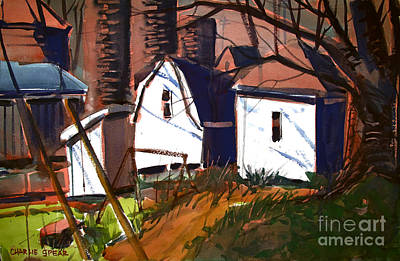 Blue Gray Sky And Silos With A Break Of Sunshine Double Matt Original by Charlie Spear