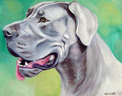 Blue Great Dane Art Print by Lyn Cook